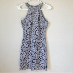 Lulu's Gray Lace High Neck Cocktail Dress